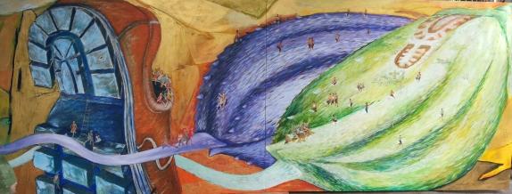 Imade bakri Wiyasa, Jejak Padi 2013, 150x 4 m. arylik on Canvas