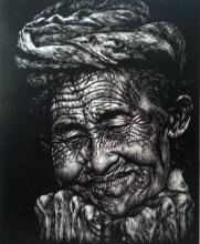 Grandmother, woodcut, 60x40 cm, 2014, edisi 5
