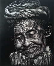 Grandmother, woodcut, 60x40 cm, 2014, edisi 5